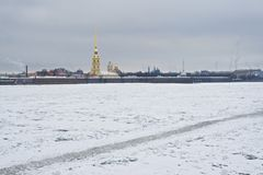 Peter and Paul Fortress and Neva closeup stock photography
