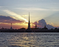 Peter and Paul fortress on Neva river at sunset during the white nights in St. Petersburg, Russia. Royalty Free Stock Photos