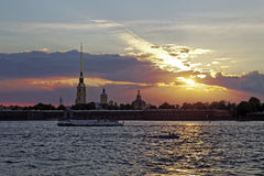 Peter and Paul fortress on Neva river at sunset during the white nights in St. Petersburg, Russia. Stock Photos