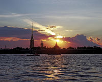 Peter and Paul fortress on Neva river at sunset during the white nights in St. Petersburg, Russia. Stock Images