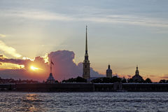 Peter and Paul fortress on Neva river at sunset during the white nights in St. Petersburg, Russia Stock Images