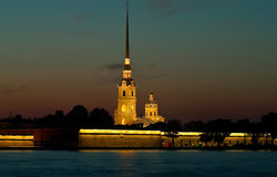 Peter and Paul Fortress at night Stock Images