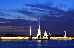 Peter and Paul Fortress at night Royalty Free Stock Photography