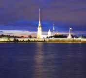 Peter and Paul Fortress at night. Royalty Free Stock Photography