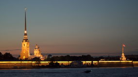 Peter and Paul Fortress at night stock video footage