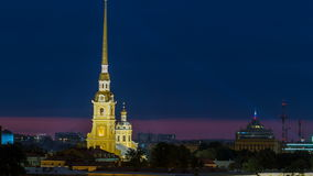 The Peter and Paul Fortress night timelapse is the original citadel of St. Petersburg, Russia stock video