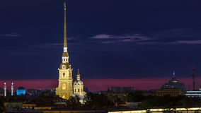The Peter and Paul Fortress night timelapse is the original citadel of St. Petersburg, Russia stock footage