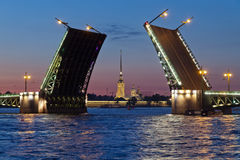 Peter and Paul Fortress and open Palace Bridge Stock Photos