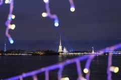 Peter and Paul fortress from Palace bridge decorated at night. Saint Petersburg. Russia Royalty Free Stock Images
