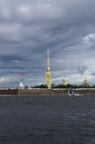 The Peter and Paul Fortress. Panorama of Neva river and Peter and Paul Fortress Royalty Free Stock Photography