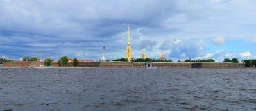 Peter and Paul Fortress. Panorama of Neva river and Peter and Paul Fortress Royalty Free Stock Photos