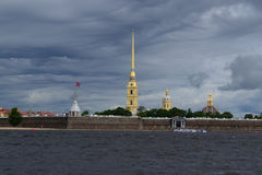 Peter and Paul Fortress. Panorama of Neva river and Peter and Paul Fortress Royalty Free Stock Photography