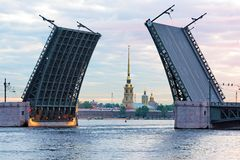 Peter and Paul fortress and Raised Palace Bridge Royalty Free Stock Images