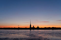 Peter and Paul Fortress in Saint Petersburg. Peter and Paul Fortress in Russia, Saint Petersburg in the evening Stock Photos