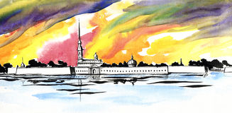 Peter and Paul fortress in Saint-Petersburg on a bright watercolor background Stock Images