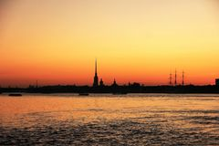 Peter and Paul Fortress Saint Petersburg, Russia silhouette on sunset sky. View from river Neva on September 2017 Royalty Free Stock Photos