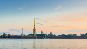 Peter and Paul Fortress in Saint-Petersburg during sunrise Stock Photos