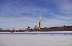 Peter and Paul fortress in Saint-Petersburg in winter Royalty Free Stock Images