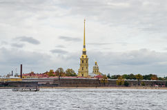 Peter and Paul Fortress with Sand Sculpture Festival announced a Stock Photo