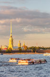 Peter and Paul Fortress and ships on Neva Stock Photo