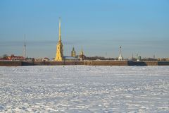 Peter and Paul fortress and the snow-covered Neva on a Sunny day. In Saint-Petersburg Royalty Free Stock Photography