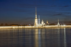 The Peter and Paul Fortress in St. -Petersburg. Evening kind on the Peter and Paul Fortress in St. -Petersburg and the river Navu royalty free stock images