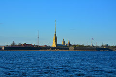 Peter and Paul Fortress in St. Petersburg, Russia. Peter and Paul Fortress, view from other coast in St. Petersburg, Russia Stock Image