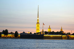 Peter and Paul Fortress in St. Petersburg during of white nights Stock Photo