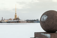 Peter and Paul Fortress in St. Petersburg in winter stock images