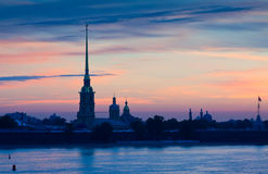 Peter and Paul Fortress in summer dawn Royalty Free Stock Images