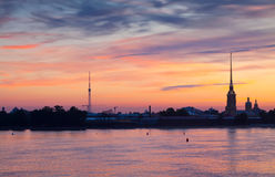 Peter and Paul Fortress in summer dawn Stock Photos