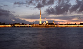 Peter and Paul Fortress before sunrise. Royalty Free Stock Image