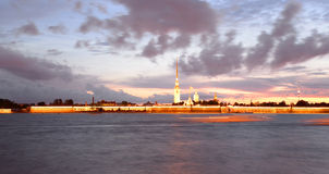 Peter and Paul Fortress before sunrise. Royalty Free Stock Photography