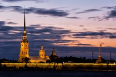 Peter and Paul fortress in sunrise Stock Photo