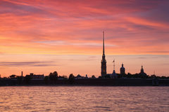 Peter and Paul Fortress during sunset Stock Image