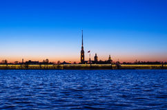 Peter and Paul fortress after sunset. Night Stock Photography