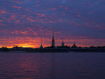Peter and Paul fortress, sunset, Saint-Petersburg, Russia Royalty Free Stock Images