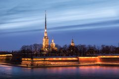 Peter and Paul Fortress at sunset, St. Petersburg Royalty Free Stock Images