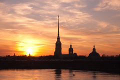 Peter and Paul fortress at sunset Stock Photos