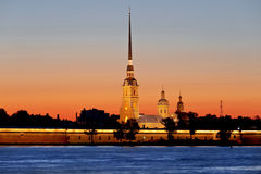 Peter and Paul fortress at sunset during the white nights in St. Petersburg. Royalty Free Stock Images