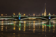 Peter and Paul Fortress and Trinity Bridge. With a Christmas illumination Stock Image