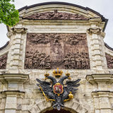 Peter and Paul fortress, the upper part of the Petrovsky gate. Royalty Free Stock Photo