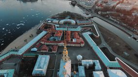 Peter and Paul Fortress, Vasilyevsky Island and the panorama of St. Petersburg and the Neva River at sunset stock video