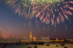 View of Peter And Paul Fortress with Victory Day fireworks. Peter And Paul Fortress with Victory Day fireworks. Petersburg royalty free stock photos