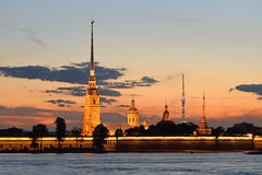 Peter and Paul fortress view from the Palace embankment of the N Stock Photography