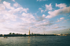 Peter and Paul Fortress viewed from Neva river in Saint Petersburg, Russia Royalty Free Stock Images