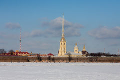 Peter and Paul Fortress in winter day Stock Photography