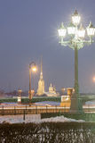 Peter and Paul Fortress in winter evening Stock Photo