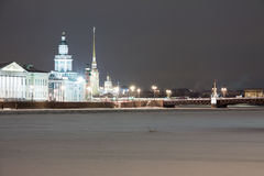 Peter and Paul Fortress in winter evening Stock Images
