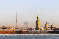 Peter and Paul Fortress in winter at sunrise in St. Petersburg Royalty Free Stock Photography